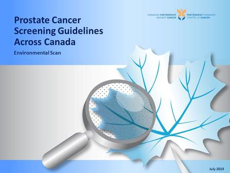 Prostate Cancer Screening Guidelines Across Canada Environmental Scan July 2015.
