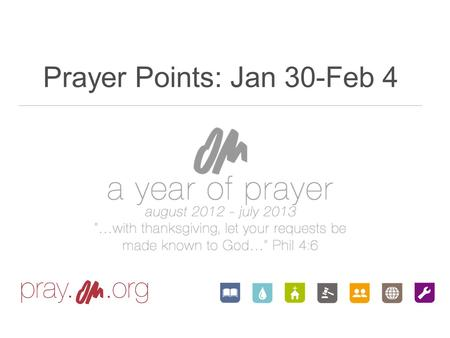Prayer Points: Jan 30-Feb 4. Thank you Lord that You do the lifting up as we humble ourselves. We give You all praise for the things You have done in.