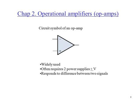 0 Chap 2. Operational amplifiers (op-amps) Circuit symbol of an op-amp Widely used Often requires 2 power supplies + V Responds to difference between.