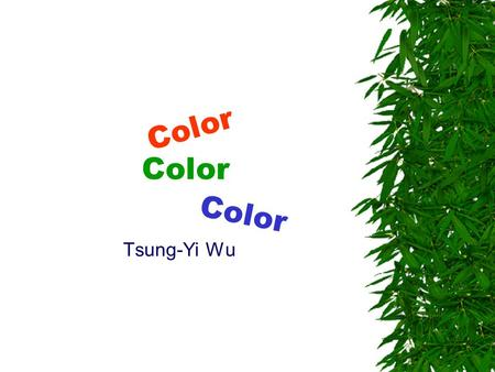Color Tsung-Yi Wu Color. Introduction  Color is a subjective sensation produced in a brain.  In the RGB color model, a color is represented by 3 values.