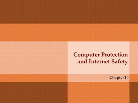 Computer Protection and Internet Safety Chapter 10.
