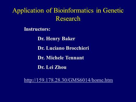 Application of Bioinformatics in Genetic Research Instructors: Dr. Henry Baker Dr. Luciano Brocchieri Dr. Michele Tennant Dr. Lei Zhou