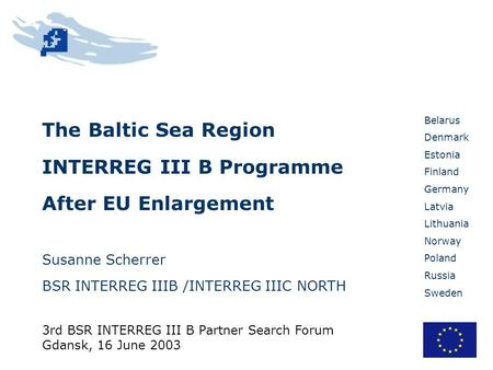 Belarus Denmark Estonia Finland Germany Latvia Lithuania Norway Poland Russia Sweden The Baltic Sea Region INTERREG III B Programme After EU Enlargement.