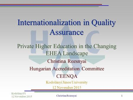 Kodolányi FI 12 November 2015 Christina Rozsnyai1 Internationalization in Quality Assurance Private Higher Education in the Changing EHEA Landscape Christina.