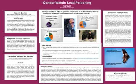 Research Question Does age increase the likely hood of being poisoned by lead? Do males or female Condors have a higher chance of being poisoned by lead.