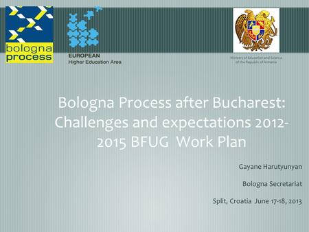 Bologna Process after Bucharest: Challenges and expectations 2012- 2015 BFUG Work Plan Gayane Harutyunyan Bologna Secretariat Split, Croatia June 17-18,