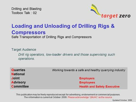 Loading and Unloading of Drilling Rigs & Compressors Safe Transportation of Drilling Rigs and Compressors Drilling and Blasting Toolbox Talk : 02 This.