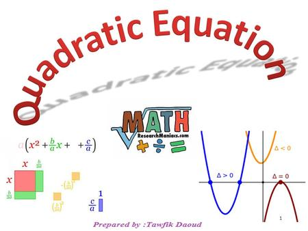 1. A quadratic equation is an equation equivalent to one of the form Where a, b, and c are real numbers and a  0 To solve a quadratic equation we get.