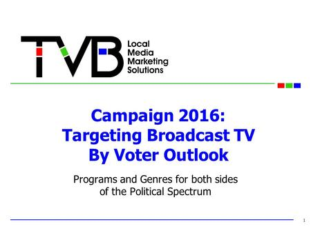Campaign 2016: Targeting Broadcast TV By Voter Outlook Programs and Genres for both sides of the Political Spectrum 1.
