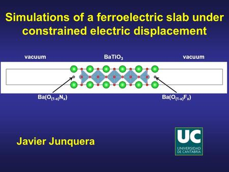 Simulations of a ferroelectric slab under constrained electric displacement vacuum BaTiO3 vacuum Ba(O(1-x)Nx) Ba(O(1-x)Fx) Javier Junquera.