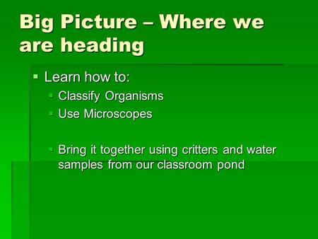Big Picture – Where we are heading  Learn how to:  Classify Organisms  Use Microscopes  Bring it together using critters and water samples from our.
