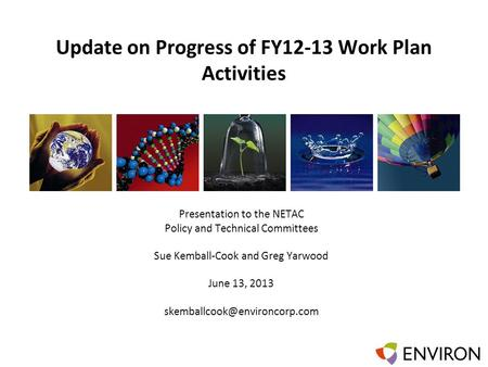 Template Update on Progress of FY12-13 Work Plan Activities Presentation to the NETAC Policy and Technical Committees Sue Kemball-Cook and Greg Yarwood.