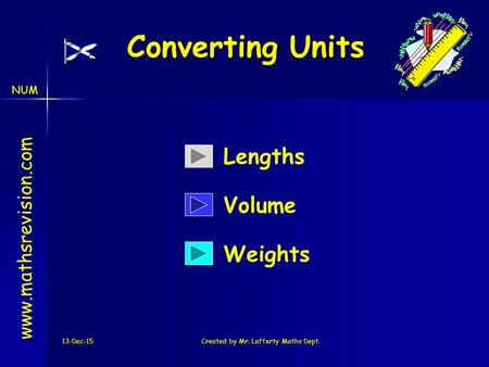 NUM 13-Dec-15Created by Mr. Lafferty Maths Dept. Converting Units www.mathsrevision.com Lengths Weights Volume.