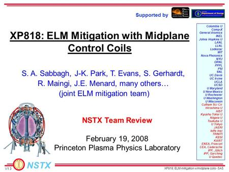 NSTX XP818: ELM mitigation w/midplane coils - SAS S. A. Sabbagh, J-K. Park, T. Evans, S. Gerhardt, R. Maingi, J.E. Menard, many others… (joint ELM mitigation.