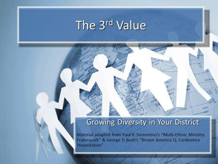 "The 3 rd Value Growing Diversity in Your District Material adapted from Paul V. Sorrentino's ""Multi-Ethnic Ministry Framework"" & George P. Bush's ""Brown."