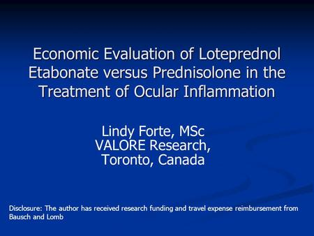 Lindy Forte, MSc VALORE Research, Toronto, Canada