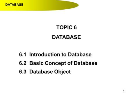 1 TOPIC 6 DATABASE 6.1 Introduction to Database 6.2 Basic Concept of Database 6.3 Database Object DATABASE.