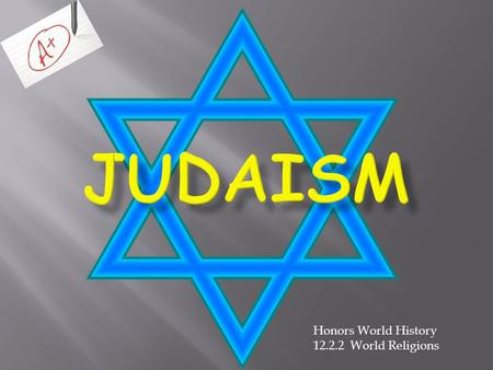 Honors World History 12.2.2 World Religions. = where Judaism is practiced = where Judaism originated Israel.