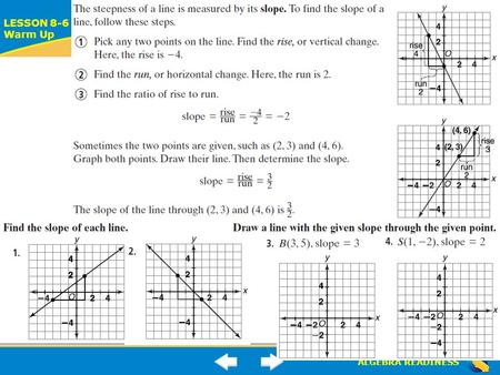 ALGEBRA READINESS LESSON 8-6 Warm Up Lesson 8-6 Warm-Up.