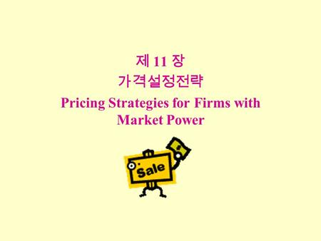 제 11 장 가격설정전략 Pricing Strategies for Firms with Market Power.