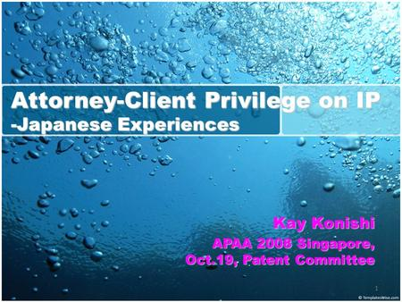1 Attorney-Client Privilege on IP -Japanese Experiences Kay Konishi APAA 2008 Singapore, Oct.19, Patent Committee.