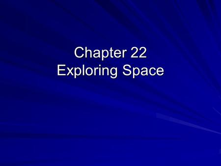 Chapter 22 Exploring Space. Electromagnetic Radiation What is it ??? –Radio waves –Visible light –Gamma rays –X-rays –Ultraviolet light –Infrared waves.