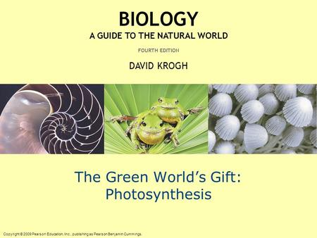 Copyright © 2009 Pearson Education, Inc., publishing as Pearson Benjamin Cummings. BIOLOGY A GUIDE TO THE NATURAL WORLD FOURTH EDITION DAVID KROGH The.