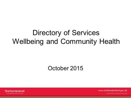 Directory of Services Wellbeing and Community Health