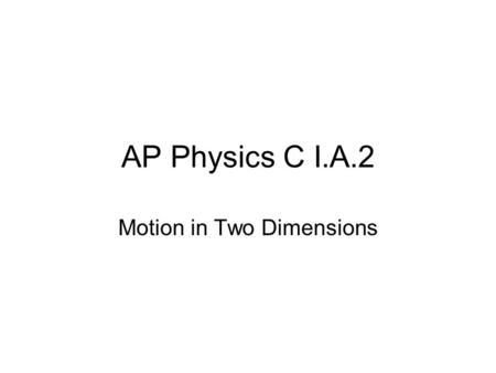 AP Physics C I.A.2 Motion in Two Dimensions. An object launched horizontally from a height.