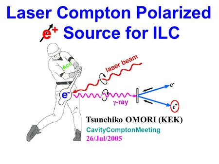 Laser Compton Polarized e + e + Source for ILC CavityComptonMeeting 26/Jul/2005 Tsunehiko OMORI (KEK)