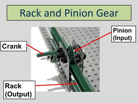Rack and Pinion Gear Pinion (Input) Crank Rack (Output)