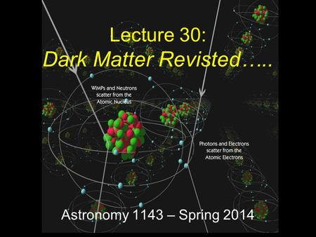 Astronomy 1143 – Spring 2014 Lecture 30: Dark Matter Revisted…..