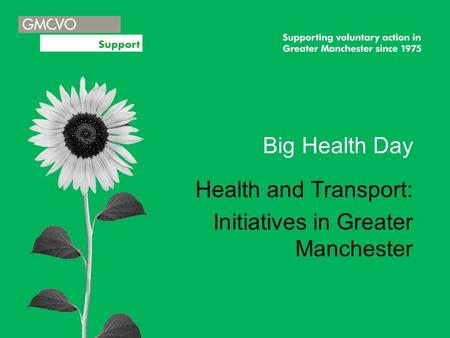 Big Health Day Health and Transport: Initiatives in Greater Manchester.