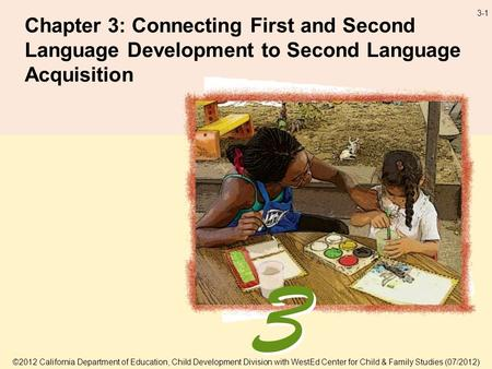 3-1 Chapter 3: Connecting First and Second Language Development to Second Language Acquisition ©2012 California Department of Education, Child Development.
