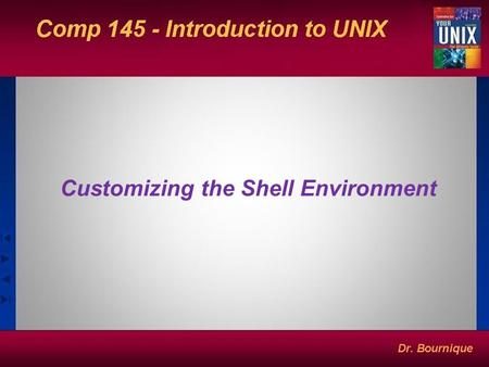 Customizing the Shell Environment. UNIX Shells Two characteristics of shells –Interactive: prompts ($) and waits for your response/requests –Noninteractive: