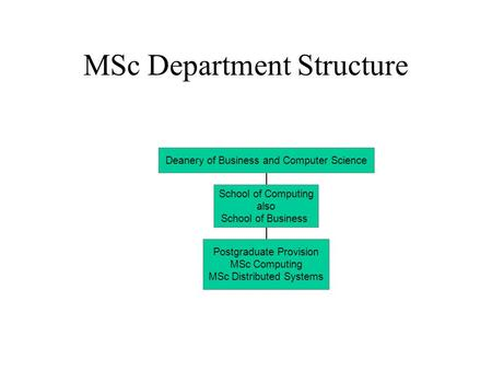 MSc Department Structure Deanery of Business and Computer Science School of Computing also School of Business Postgraduate Provision MSc Computing MSc.