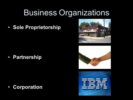 Business Organizations Sole Proprietorship Partnership Corporation.
