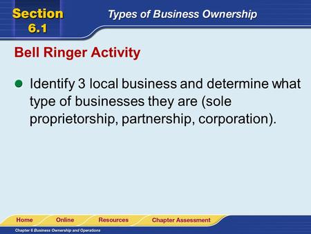 Bell Ringer Activity Identify 3 local business and determine what type of businesses they are (sole proprietorship, partnership, corporation).
