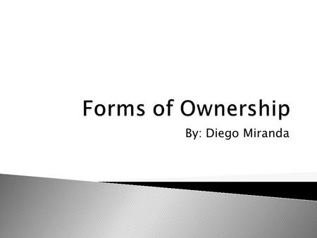 By: Diego Miranda.  When an individual owns and operates there own business. There is very little government regulations, but there are great risk for.