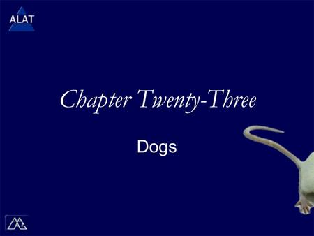 "Chapter Twenty-Three Dogs.  If viewing this in PowerPoint, use the icon to run the show (bottom left of screen).  Mac users go to ""Slide Show > View."