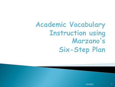 12/13/20151. You will:  Understand characteristics of effective vocabulary instruction, and  Apply a six-step process for direct instruction in vocabulary.