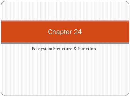 Ecosystem Structure & Function Chapter 24. Questions to Answer Based on the vegetation in the picture on 632, what inference can you make about the.
