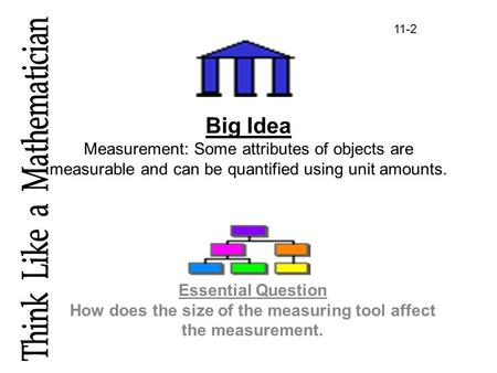 Big Idea Measurement: Some attributes of objects are measurable and can be quantified using unit amounts. Essential Question How does the size of the measuring.