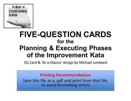 FIVE-QUESTION CARDS Planning & Executing Phases