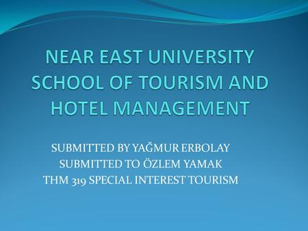 NEAR EAST UNIVERSITY SCHOOL OF TOURISM AND HOTEL MANAGEMENT