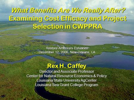 Rex H. Caffey Director and Associate Professor Center for Natural Resource Economics & Policy Louisiana State University AgCenter Louisiana Sea Grant College.
