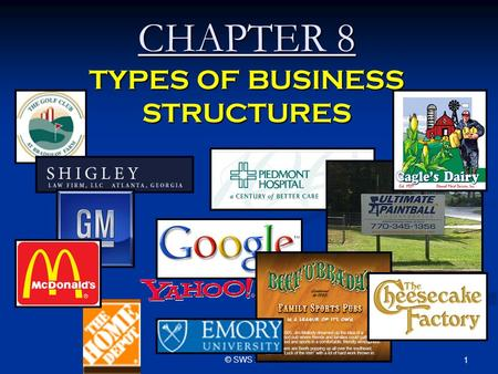 © SWS 2009 1 CHAPTER 8 TYPES OF BUSINESS STRUCTURES.