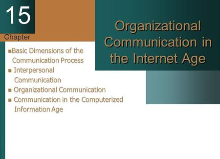 Chapter 15 Organizational Communication in the Internet Age Basic Dimensions of the Basic Dimensions of the Communication Process Communication Process.
