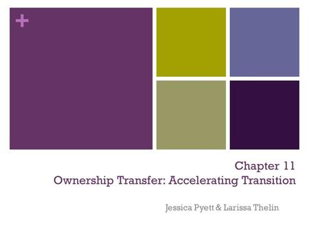 + Chapter 11 Ownership Transfer: Accelerating Transition Jessica Pyett & Larissa Thelin.