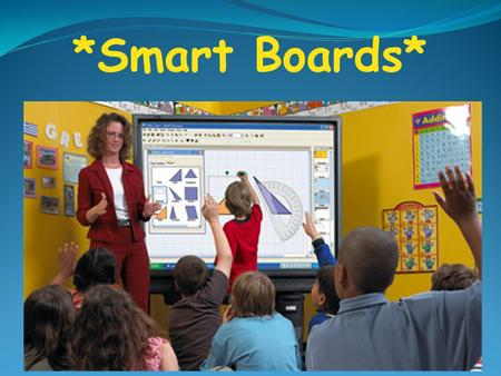 *Smart Boards*. The interactive Smart Board uses touch for input. The projector's screen display is a computer screen. A projector connected to the computer.